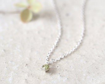 Tiny Peridot  Necklace 925 Sterling Silver August Birthstone Tiny Charm Pendant