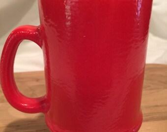 Vintage Hazel Atlas Red Orange Peel Textured Pedestal Mug