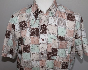 Vintage 70s Mod Disco Squares Shirt Polyester Short Sleeve Dots Stripes XL