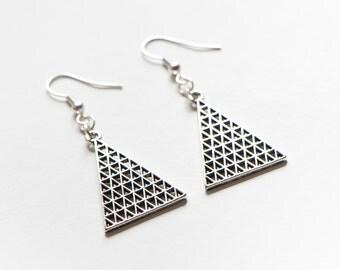 Lattice Triangle Earrings
