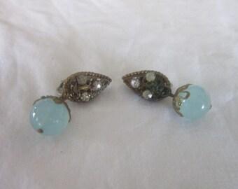 Art Deco Style Art Glass Ball & Rhinestone Fancy Dangle Clip on Earrings