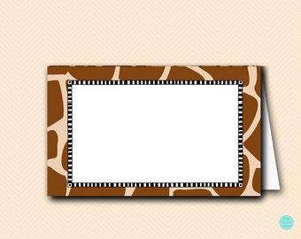 Giraffe Baby Shower Labels Cards, Tent Style labels, Safari Animal Baby Shower Labels, Jungle Baby Shower Decoration TLC469Z TLC469