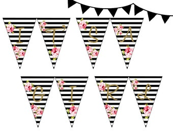 Instant download, Black White Floral Baby Shower Banner,Black Stripes Baby Shower Pennant, It's a Girl Bunting TLC04 PNN01