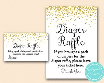 Diaper Raffle ticket and sign, Gold Baby Shower, Baby Shower Games & Activities, Instant Download Games Printable TLC148