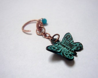 Copper cartilage hoop earring with butterfly charm