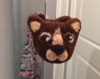 Needle felted dog magnet