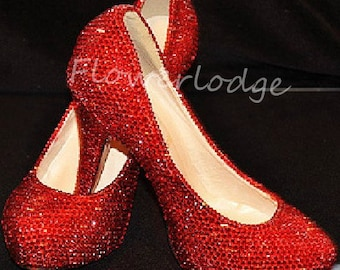 Red Rhinestone Women Pumps Shoes Closed Toe Heels Ruby Red Sparkle Crystal Classic Women Heels