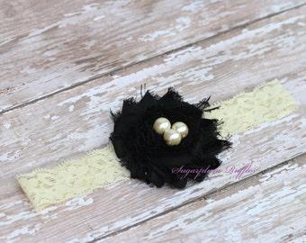 ivory, black, pearl headband, newborn