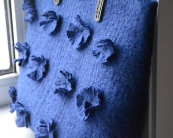 Felt bag turquoise-Felted Bag-Felted Purse-Felt handbag-Wool Bag-Art Handbag-woman handbag-natural leather handles