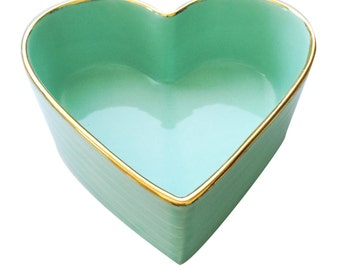 Porcelain heart shaped bowl with 22k Gold edge pastel green