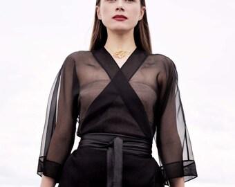 Silk blouse. Blouse organza. Kimono.