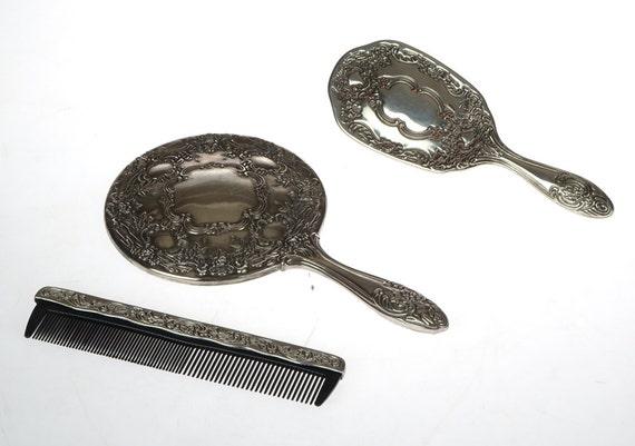 cojunto espejo peine y cepillo plata peinado