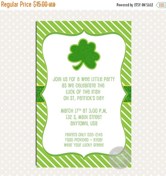 St Patricks Day Shamrock Party Invitations