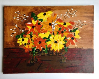 Vintage painting / basket of flowers