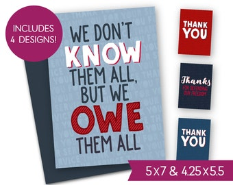 Veterans Day Printable Card Bundle - Thank You for Your Service Note, Military Army Navy Marines Marine Corps Air Force USA Thanks S1444
