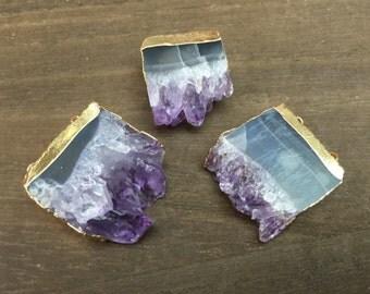 3-10pcs Wholesale Amethyst Druzy Pendant Purple Amethyst Druzy Slice Pendant Gold plated Gemstone amethyst Geode pendant Charms