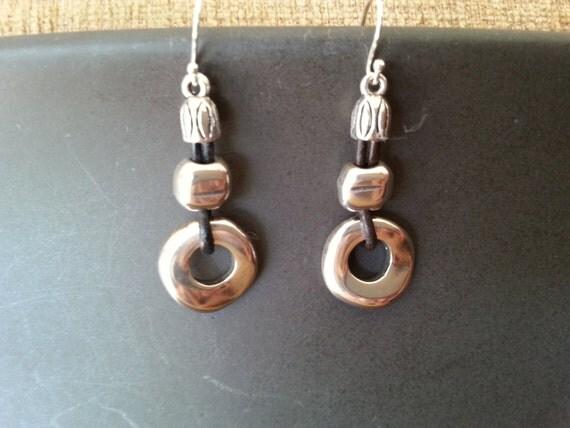 leather cord earrings sterling silver hook ear wire silver