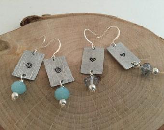 Womens Earrings/Hand Stamped Earrings/Custom Jewelry/Heart Earrings
