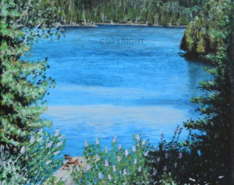 Cottage View - Print of Original Acrylic Painting