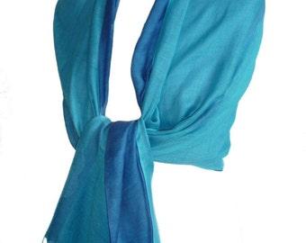 Turquoise & Blue Pashmina Wrap Reversible Double Layer Shawl Cotton Mix Large Scarf Fairt Trade