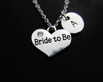 Bride to Be Necklace Silver Bride to Be Heart Pendant Necklace Stainless steel Chain Personalized Initial Necklace Monogram Custom Jewelry