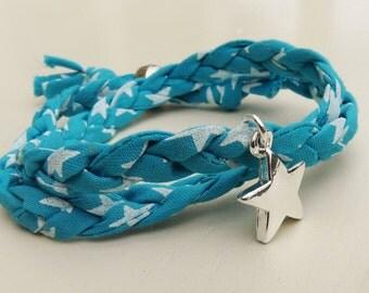 Liberty of London Print Turquoise Star Fabric Double Wrap Bracelet with Star Charm, Festival Bracelet, Surf, Beach Jewellery