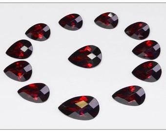 Beautiful Quality Pyrope Garnet / Red Garnet Checkerboard Cut Teardrop Shape 12-Piece Layout