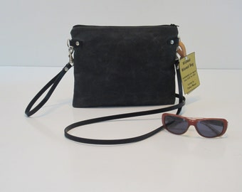 Waxed Cotton Canvas Crossbody Bag with Removable Leather X-Body Strap & Matching Wrist Strap