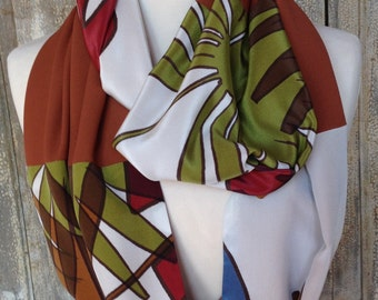 Silk patchwork scarf silk scarf shawl infinity luxury