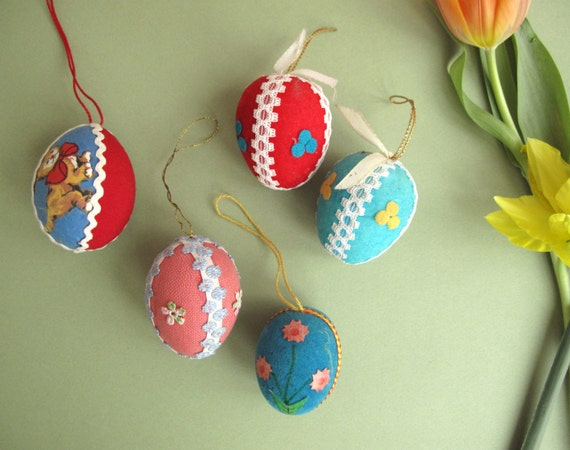 5 vintage German Easter eggs decorations, assorted colors, hand crafted, ribbons, appliques