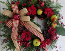 Christmas Wreath, Winter Front Door Wreath, Holiday Apple and Berry Wreath