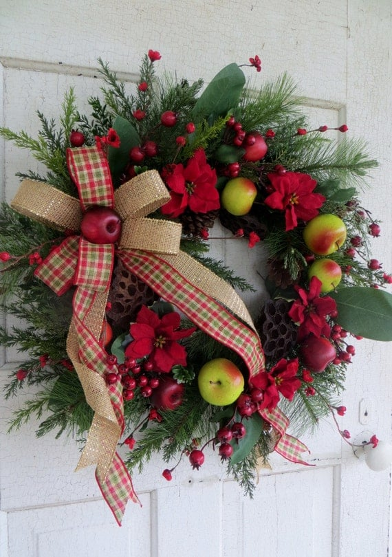 Christmas Wreath Winter Front Door Wreath Holiday Apple And
