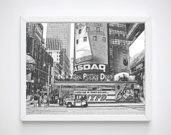 NYPD Gift, Printable Art, New York Wall Print, New York Print Decor, Police Gift, New York Cityscape, New York Skyline Art, Black and White
