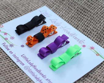 Halloween Baby hair clips set hair clips infant hair clips tiny small toddler barrettes tuxedo bows - no slip