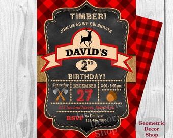 Lumberjack Birthday Party Invite First Birthday Wilderness Red Plaid Lumber Jack Invitation Rustic Digital buffalo plaid 3rd 4th BDLJ2