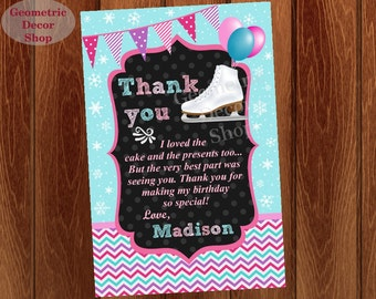 Thank you cards Ice Skating Party Favor tags digital gift Decoration birthday printable DIY Thank you card tag photo photograph THIS1