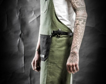 Waxed canvas and leather apron by Kruk Garage Men's apron Work apron Barista apron Barber apron Men's gift Birthday gift Christmas gift