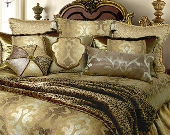 Dian Austin Modern Baroque 4 piece Gold Bedding Set - King and Queen available
