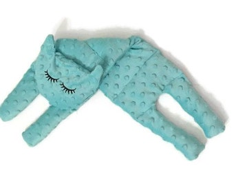 Minky Aromatherapy Neck Shoulder Microwave Pillow Hot and cold Pack Sleepy Cat Turquoise