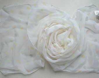 100% Pure Silk Long Chiffon Scarf White with Pastel Pattern - Hand Hemmed - True Vintage, Unused and Perfect from 1980s Stock