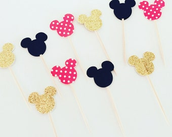Our  Mickey/Minnie Mouse Ears Cupcake Toppers in Assorted Colors/Patterns, Mickey and Minnie Birthday Party, Disney Party,Disney baby shower