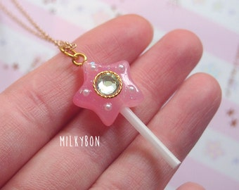 Magical Girl Pink Crystal Star Fairy Wand Necklace