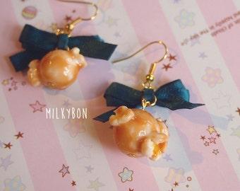 Cute Caramel Popcorn Earrings (Emerald Green)