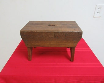 Vintage Primitive Mahogany Step Stool Bench Seat