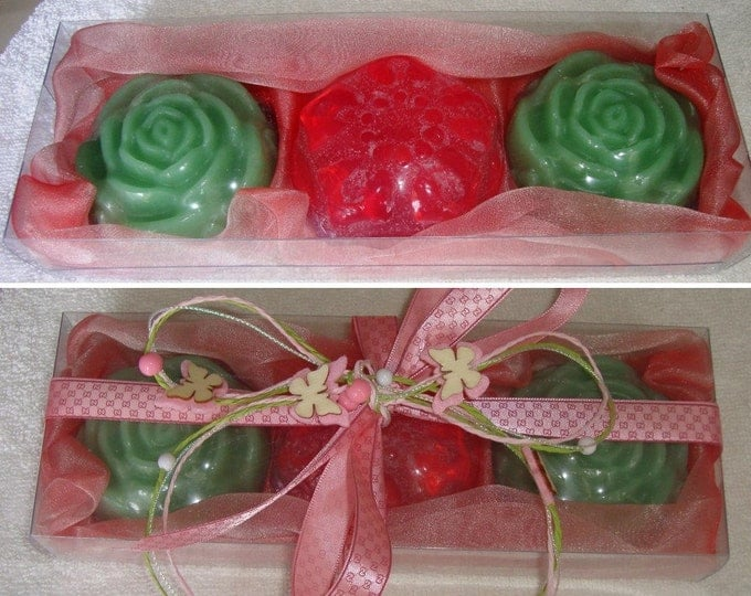 Pink Green Beauty Gift Set, Handmade Soap Gift Pack, Luxury Glycerin Scented Soaps, Artisan Summer Gift, Graduation Gift, Floral Party Gift