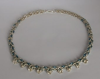 Blue and Silver Byzantine Chainmaille Necklace