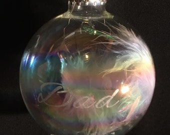 Laser engraved memory Christmas bauble with feather inside
