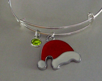 SANTA Hat CHRISTMAS Bangle W Birthstone - Adjustable BANGLE -Personalize Your Expandable Bracelet - Gift For Her  Under 20 Usa - W1