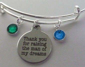 Thank You For Raising The Man of My Dreams Charm Bracelet W/ Birthstone Drop / Mother In Law Bangle / Gift For Her - Usa # S1  05