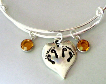 TWINS Bangle  W/ Two Birthstones / New Mother Bangle /  Baby Shower Gift / Adjustable Silver Bangle Under 20  USA   TW1